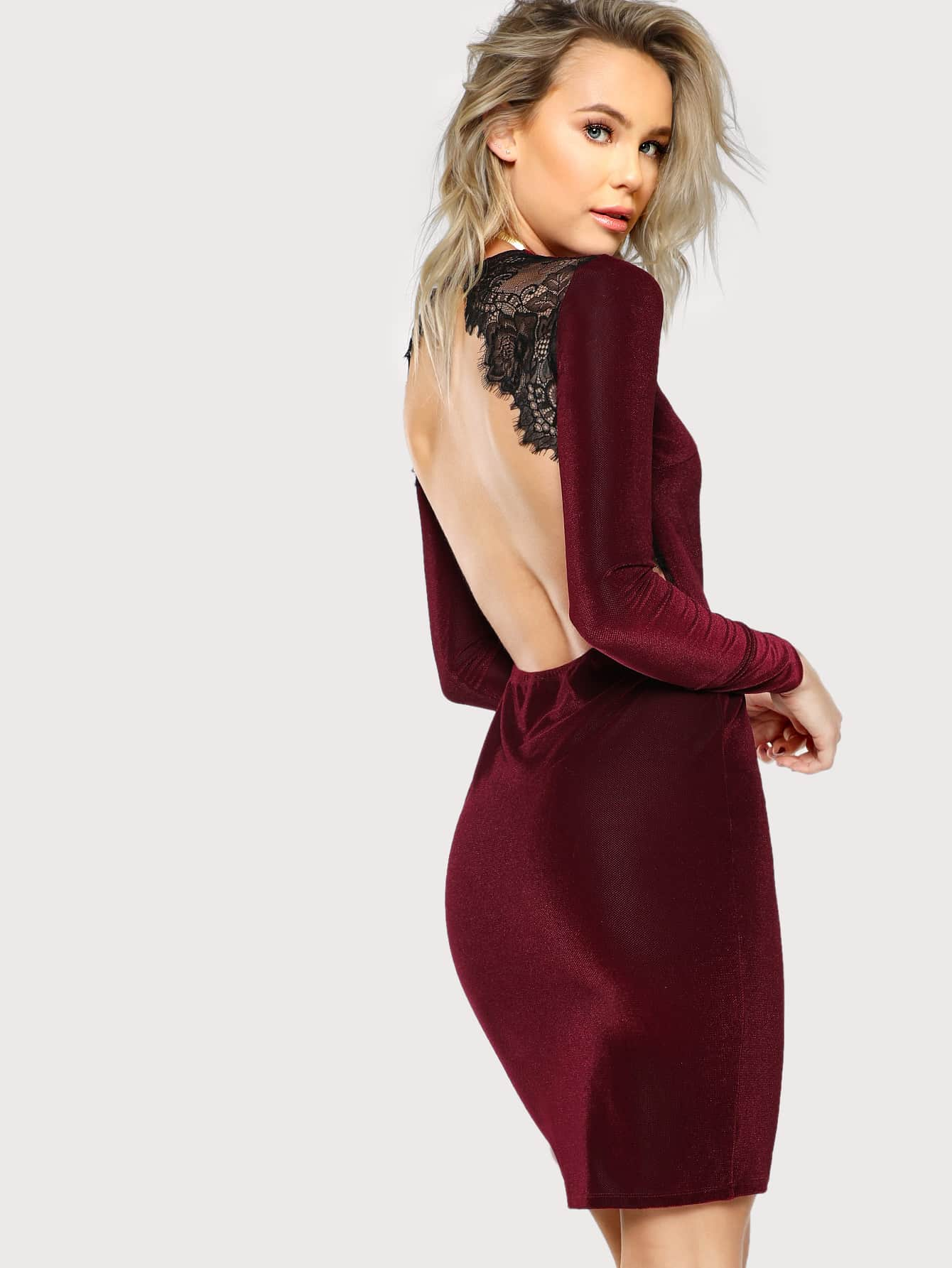Lace Trim Open Back Dress dressmmc171019702