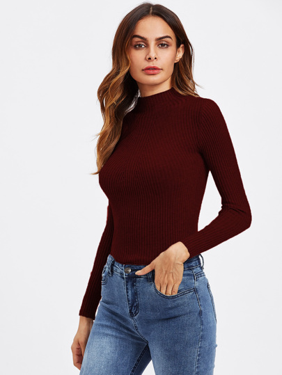 Turtleneck Ribbed Knit Sweater