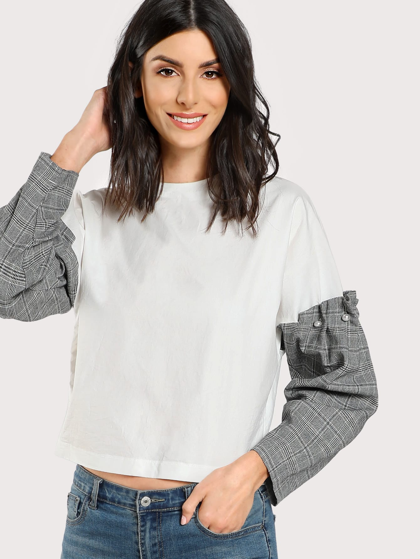 Pearl Beading Frilled Checkered Sleeve Top pearl beading layered sleeve top
