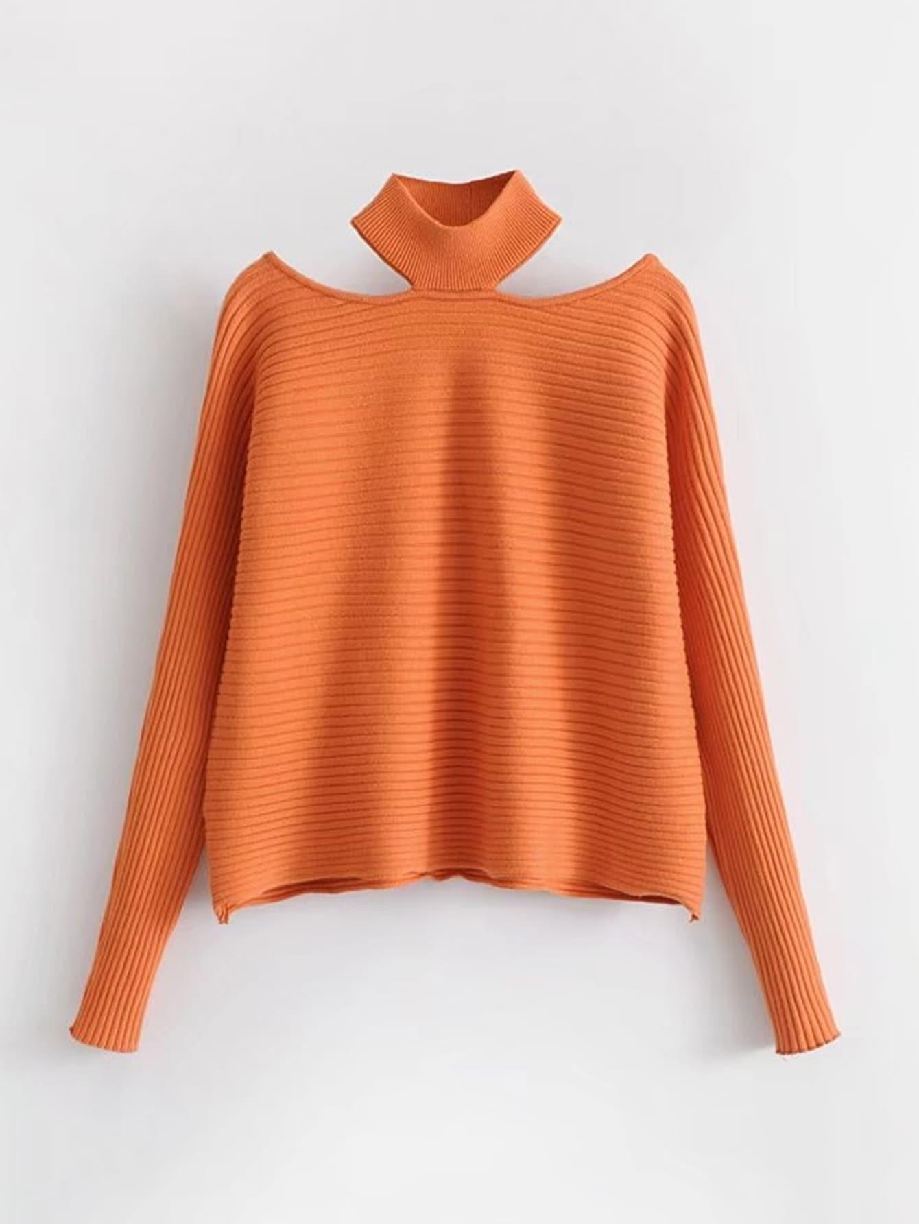 Choker Neck Rib Sweater