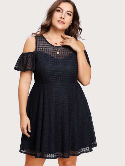 Lace Yoke Open Shoulder Fitted & Flared Dress