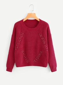 Pearl Beaded Eyelet Detail Jumper