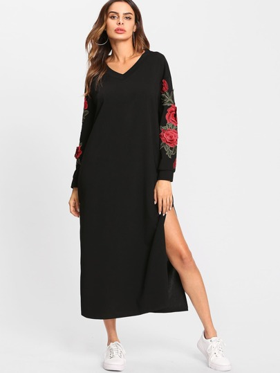 Rose Embroidered Applique Split Side Sweatshirt Dress