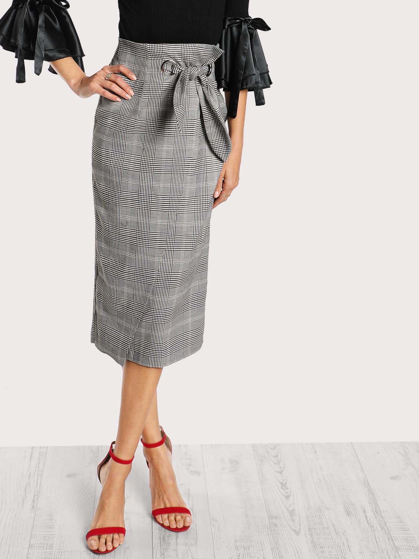 Grommet Detail Bow Tie Plaid Wrap Skirt drop shoulder grommet tie detail sweatshirt