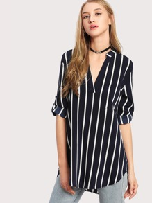 Vertical Striped High Low Curved Hem Blouse