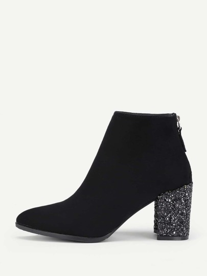 Glitter Heeled Back Zipper Ankle Boots