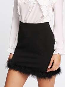 Contrast Faux Fur Hem Skirt