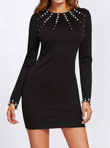 Pearl Beading Fitted Solid Dress