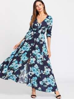 Drawstring Waist Flower Print Dress