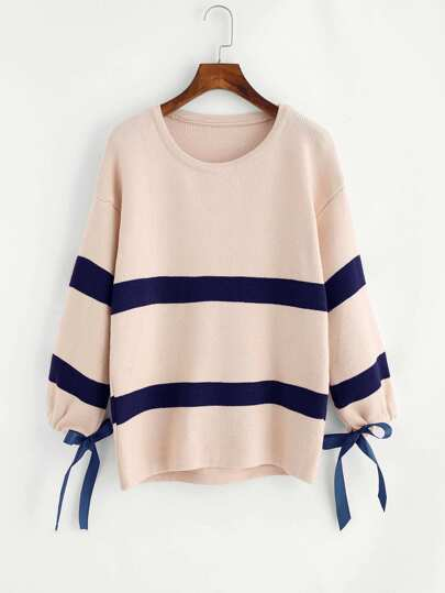 Drop Shoulder Tie Cuff Striped Knit Sweater