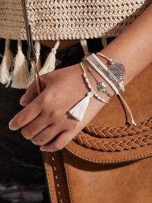 Tassel & Flower Charm Design Bracelet Set