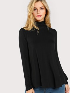 High Neck Solid T-shirt