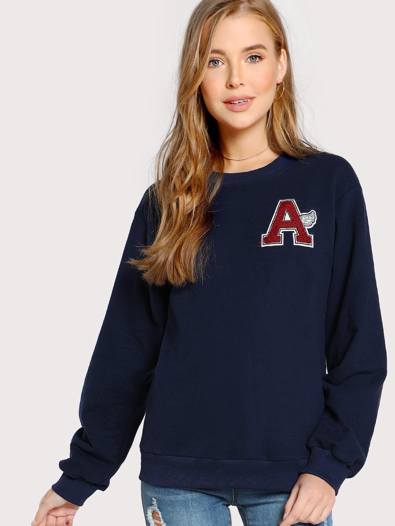 Image of Letter Flocking Patch Detail Sweatshirt