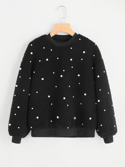 Pearl Beaded Fluffy Sweatshirt