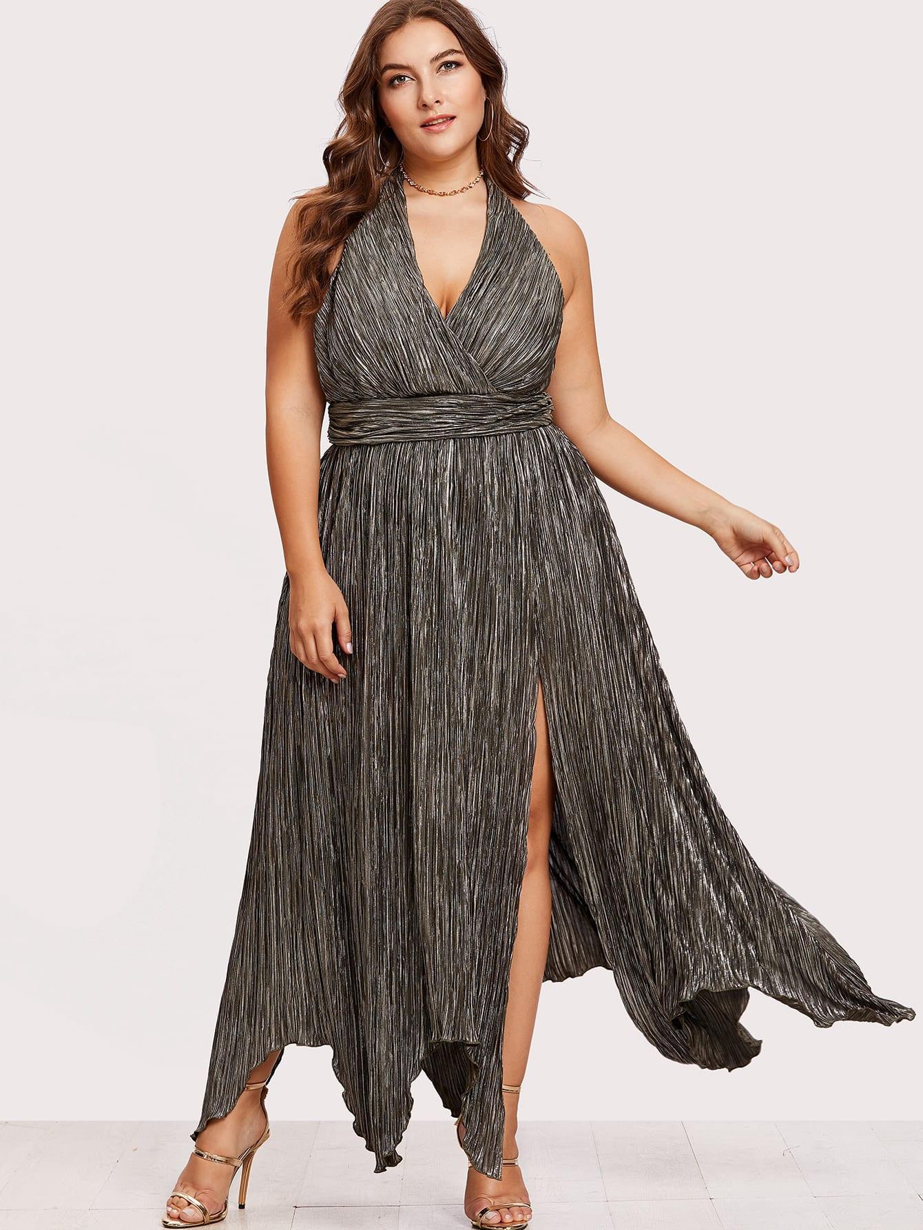 High Slit Hanky Hem Metallic Halter Dress high slit hanky hem metallic halter dress