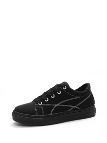 Lace Up Low Top Flatform PU Sneakers