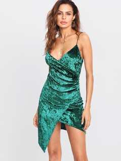 Asymmetrical Surplice Wrap Velvet Cami Dress
