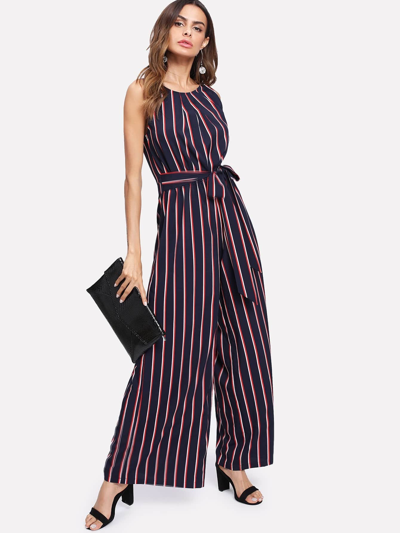 Self Belted Vertical Striped Wide Leg Jumpsuit shirred panel wide leg striped jumpsuit