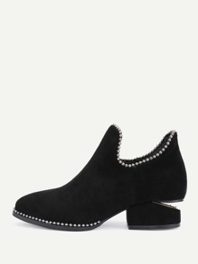 Metal Beads Trim Suede Ankle Boots