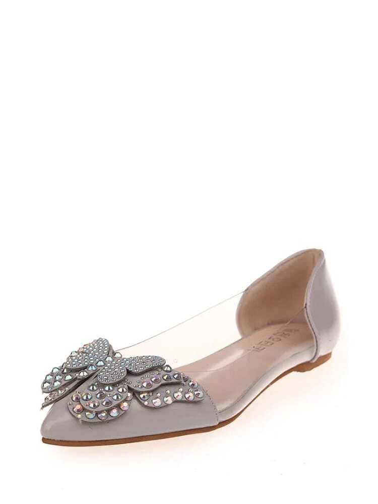 Rhinestone Embellished Butterfly Ballet Flats