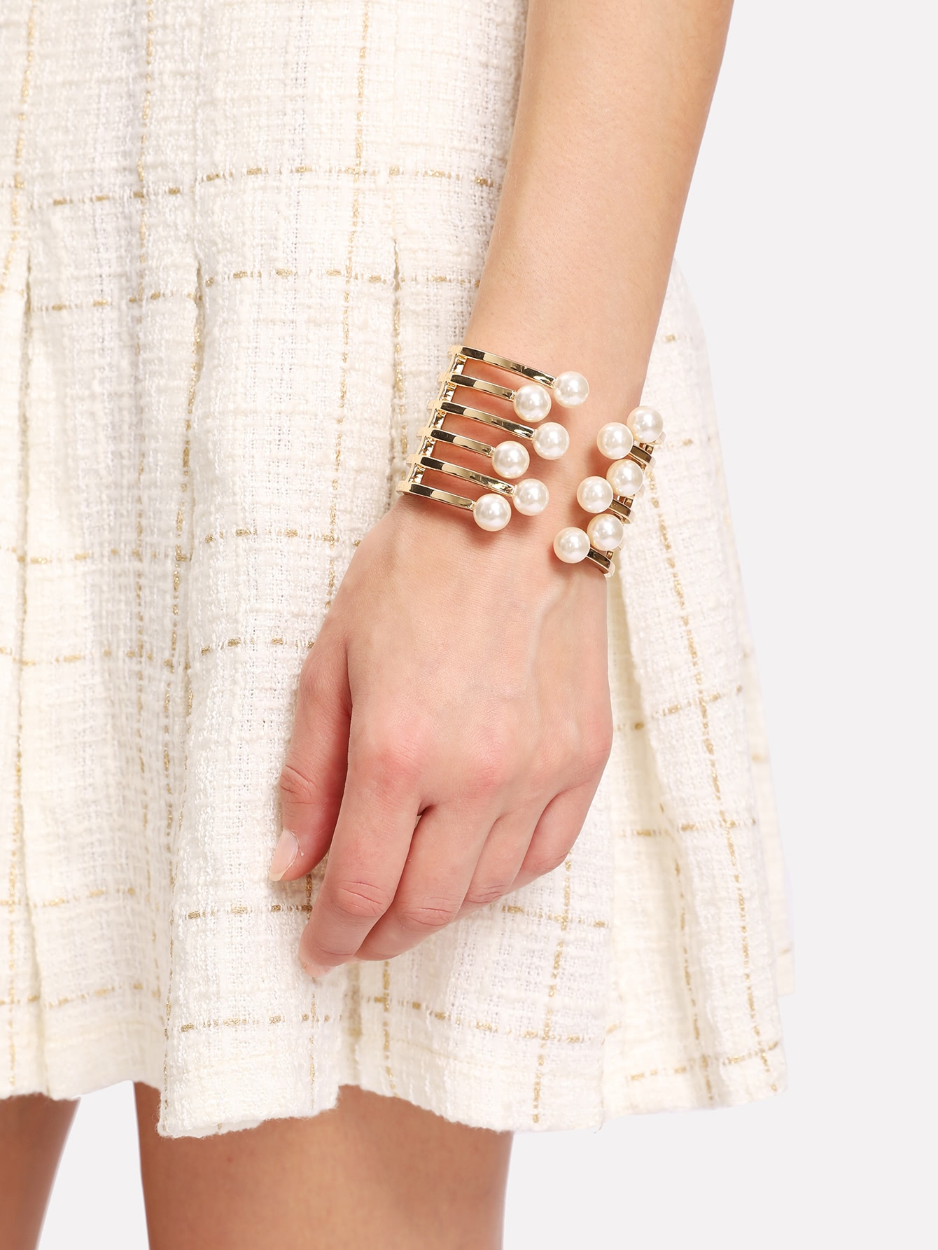 Faux Pearl Detail Layered Cuff Bracelet frill layered pearl detail sweatshirt dress