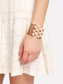 Faux Pearl Detail Layered Cuff Bracelet