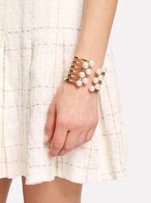 Faux Pearl Detail Layered Cuff Bracelet