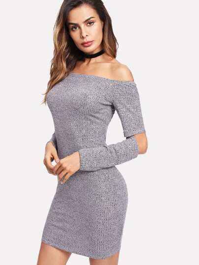 Cutout Elbow Marled Knit Bardot Dress
