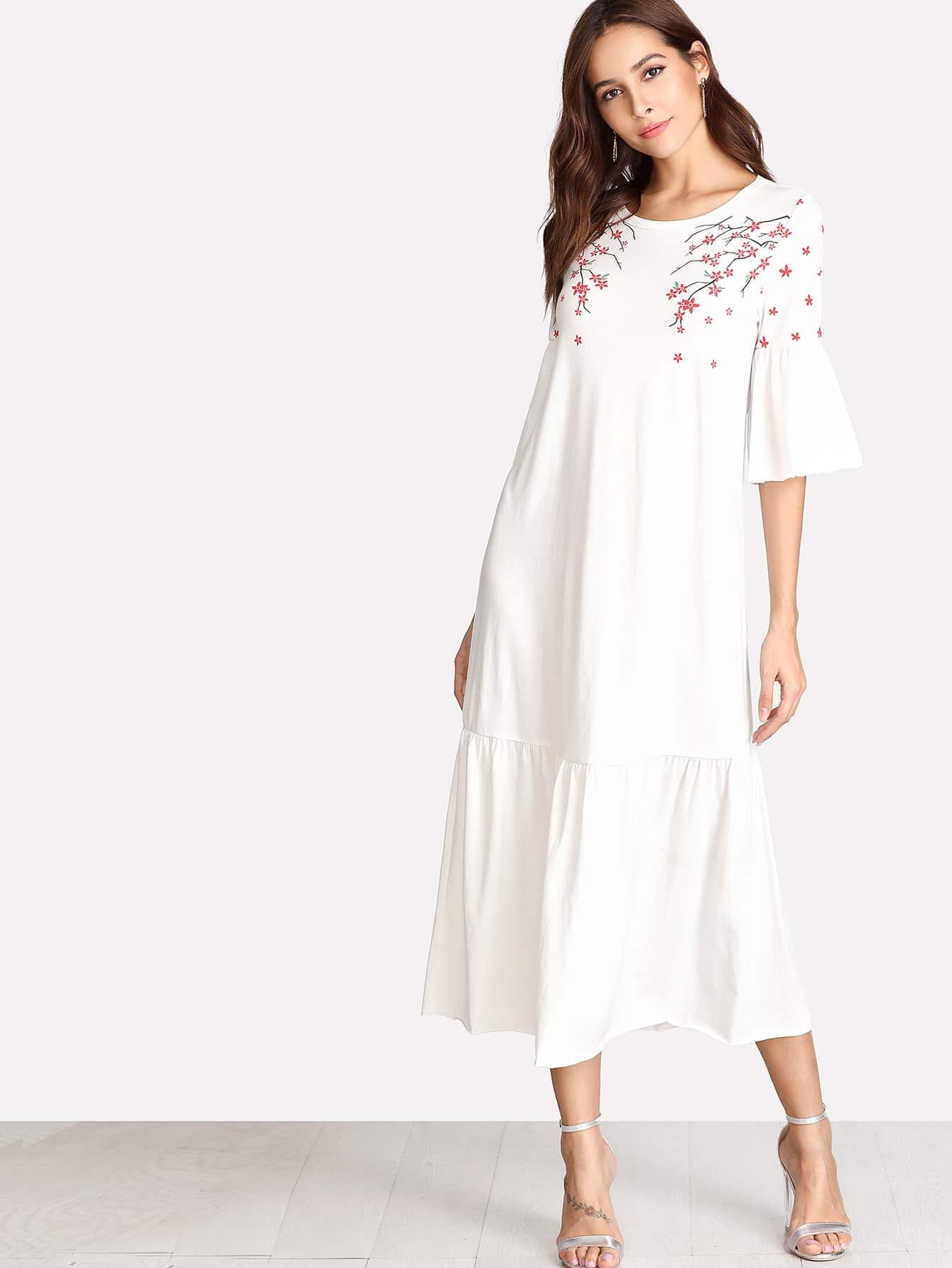 Flower Blossom Print Fluted Sleeve Tiered Hem Dress v notch pearl leaf chain detail fluted sleeve dress
