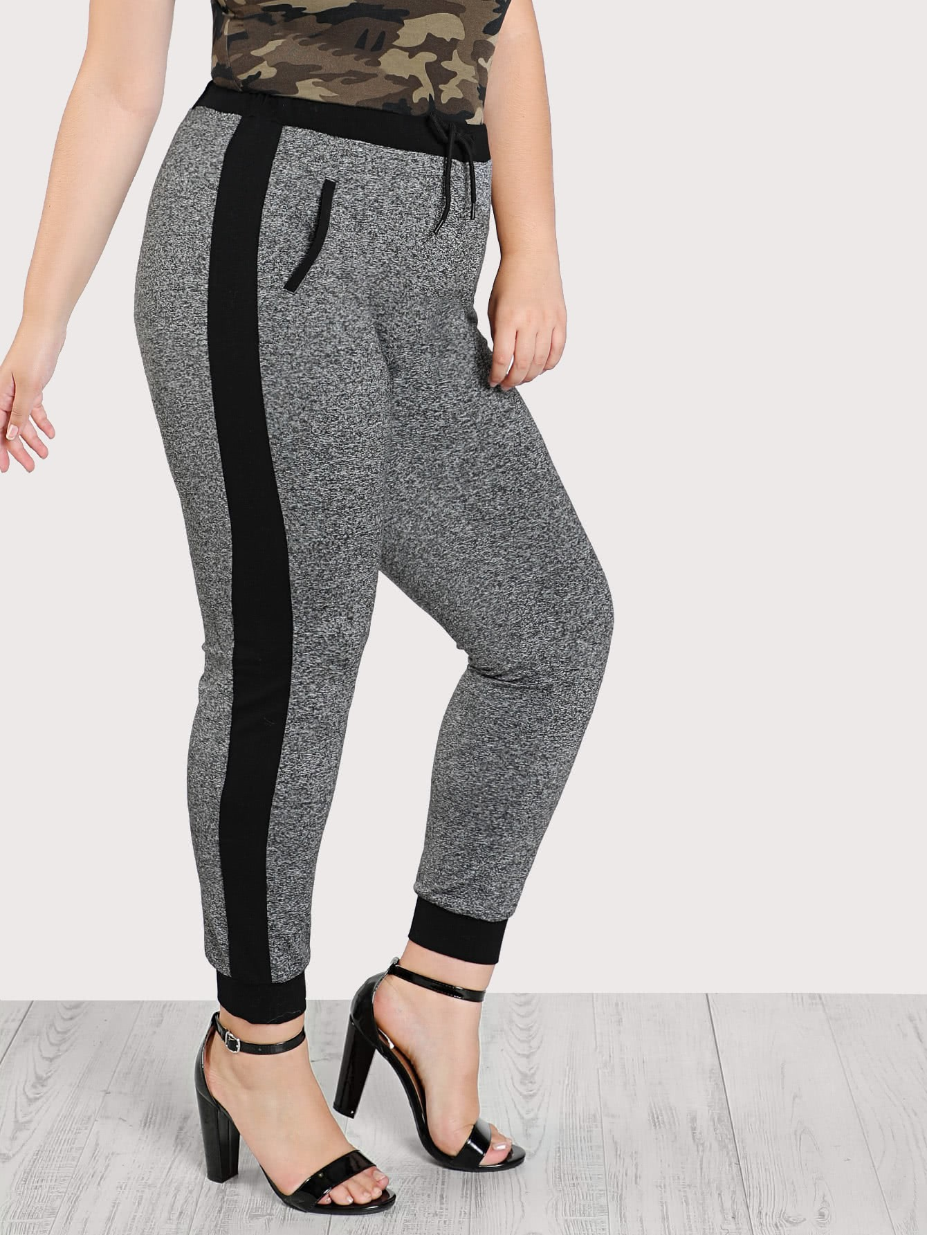 Image of Contrast Panel Marled Knit Sweatpants
