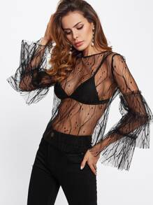 Layered Ruffle Sleeve Vine Mesh Top
