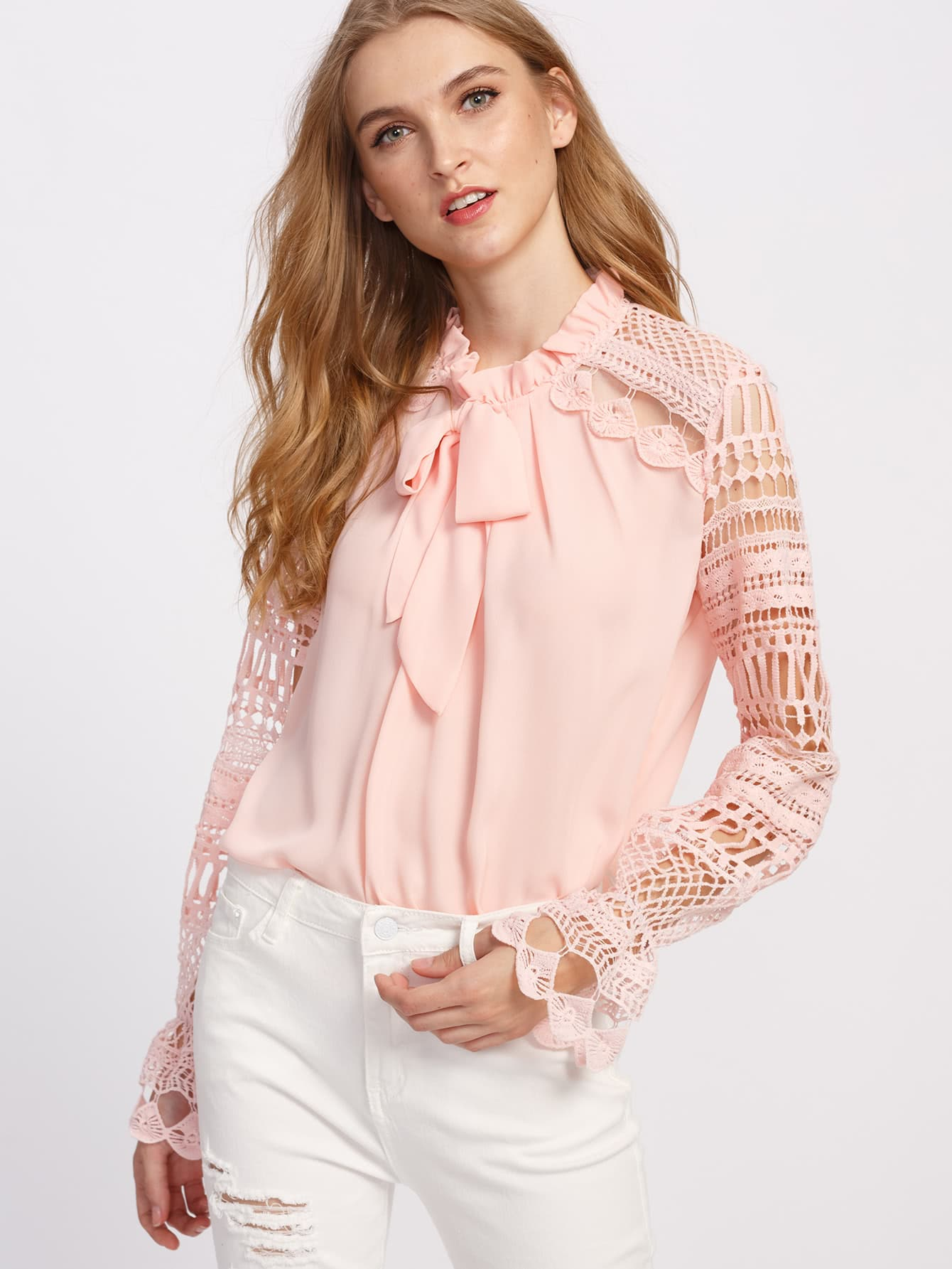 Geo Lace Sleeve Frilled Tie Neck Blouse tie neck lace detail cape sleeve blouse