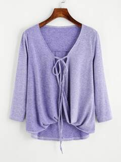 Tied Twist Front Marled Knit Tee