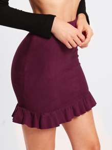 Ruffle Hem Bodycon Skirt