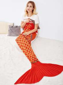 Two Tone Fish Scale Pattern Mermaid Blanket