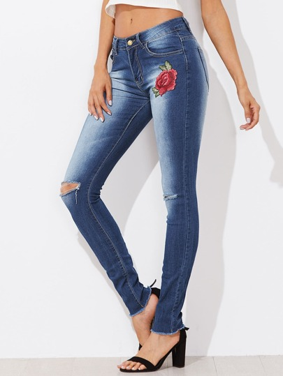 Rose Applique Ripped Fray Hem Jeans