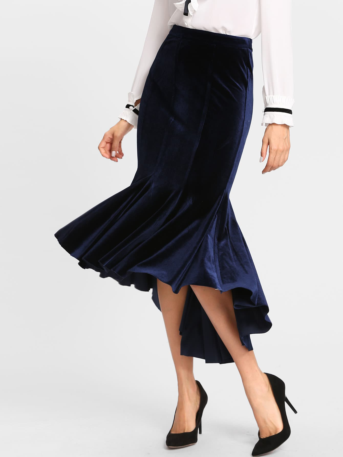High Low Velvet Trumpet Skirt