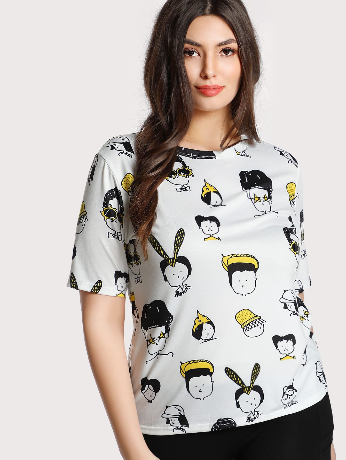 Image of Allover Cartoon Portrait Print T-shirt