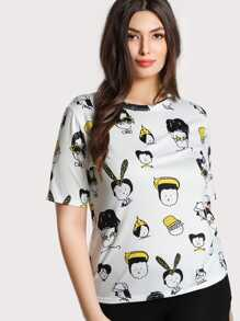 Allover Cartoon Portrait Print T-shirt