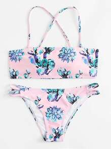 Flower Print Criss Cross Bikini Set