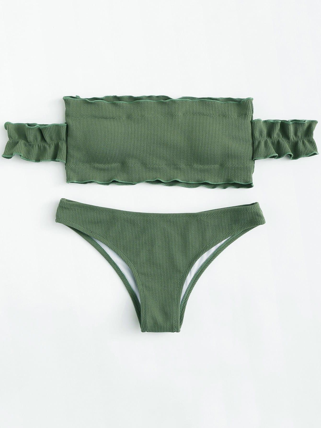 Фото Off The Shoulder Bikini Set checker knot bikini set