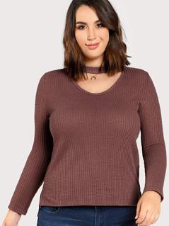 Choker Neck Waffle Knit T-shirt