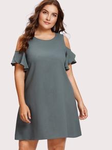 Open Shoulder Petal Sleeve Swing Dress