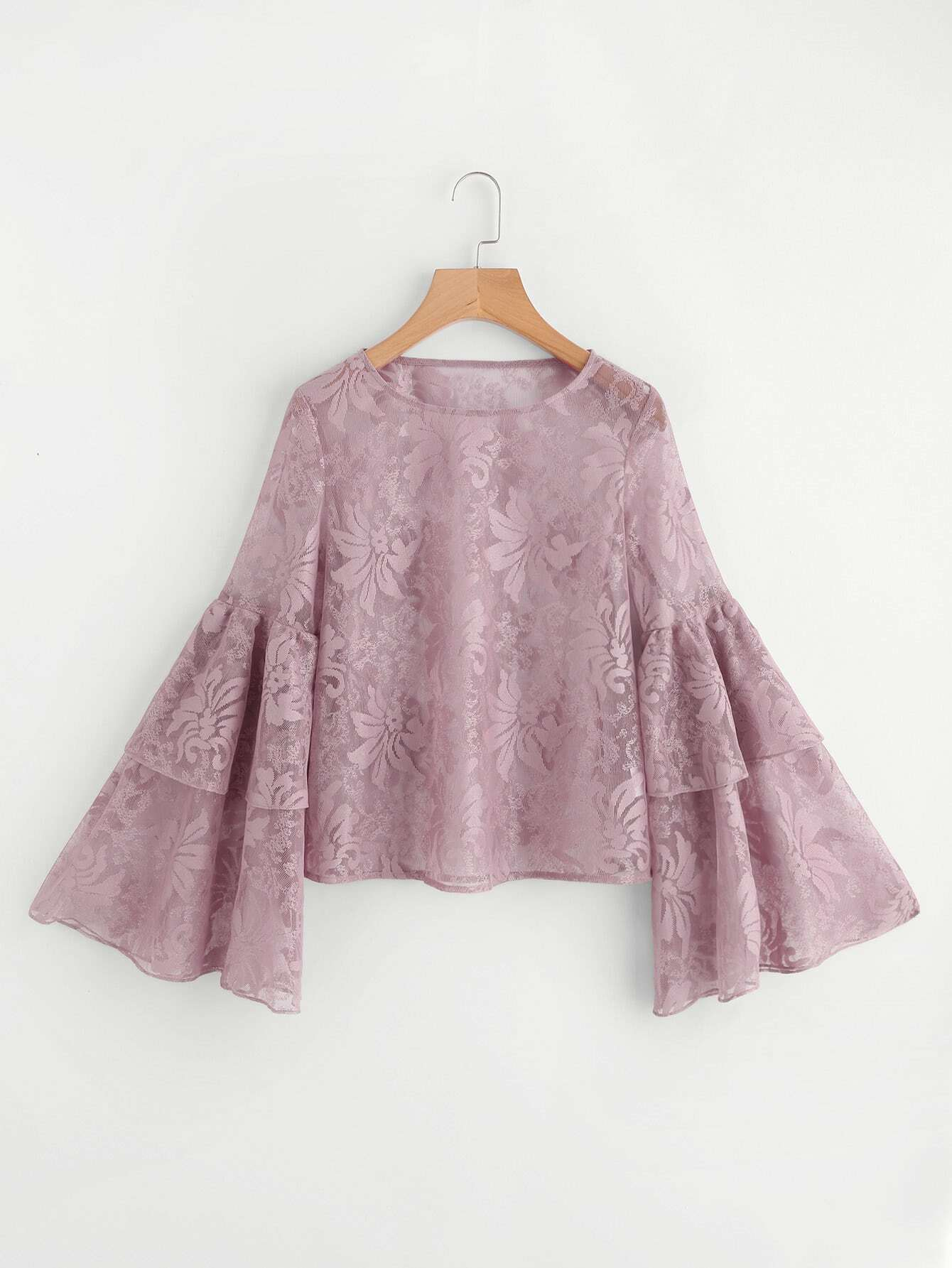 Layered Trumpet Sleeve Floral Lace Top blouse171010452