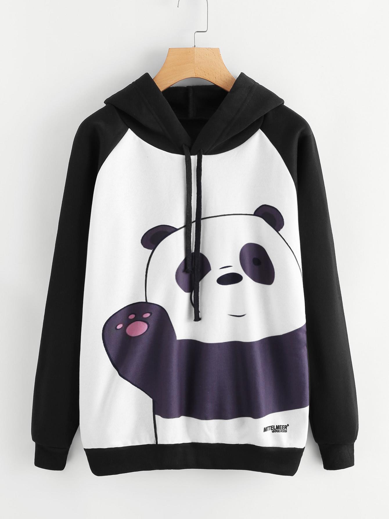 Panda Print Raglan Sleeve Hoodie letter print raglan hoodie