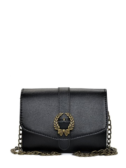 Metal Bow Detail Flap Chain Bag