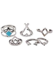 6 piezas de anillo geométrico