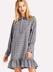 Glen Plaid Bow Tie Neck Pep Hem Dress