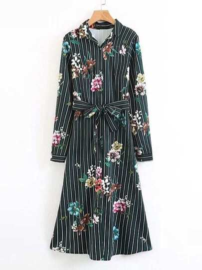 Floral Self Tie Striped Shirt Dress
