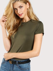 Solid Form Fitted T-shirt